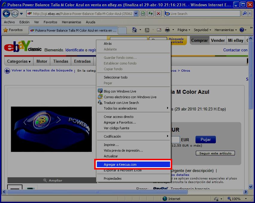 Menú contextual en Internet Explorer