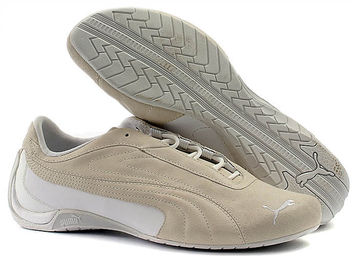 Mens PUMA Beige Leather Trainers Size 8 (42)