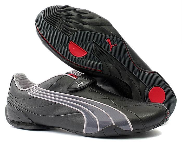 Mens PUMA Black Leather Trainers Size 8 (42)