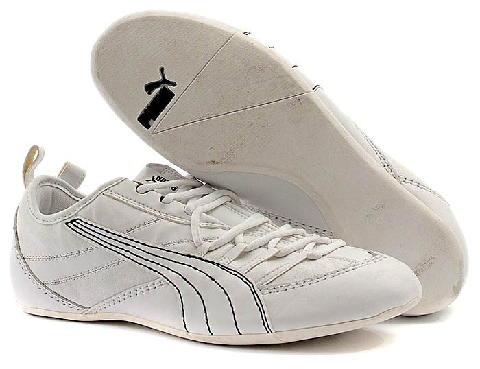 Mens PUMA White Leather Trainers Size 8 (42)