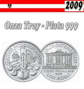 1,5 euros AUSTRIA 2009 Onza Plata Filarmonica de Vienna