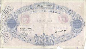 Frankreich, banque de France, 500 fr. 1936  535