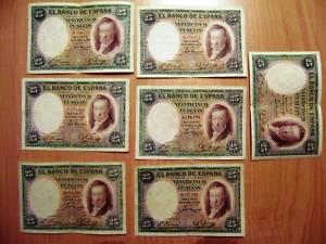 LOTE 7 Billetes 25 Pts del 1931 ( sin serie )
