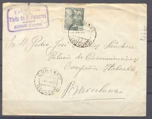 1945 SOBRE Nº 8 CIRCULO CORNAGO, LOGROÑO-BARCELONA.