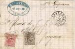 Carta. ZARAGOZA a Vergara 1878. Impuesto Guerra.