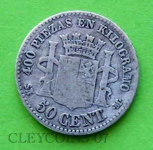SPAIN 50 CENTIMOS 1870 SN-M