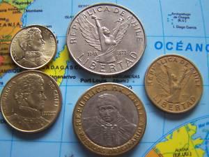 CHILE LOTE DE 5 MONEDAS DIFERENTES,
