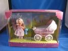 2002 BARBIE KELLY TINY STEPS W/ DOLL,BEAR, CARRIAGE MIB
