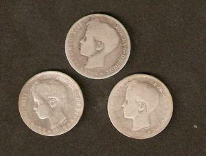 Lote de 3 monedas de 1 pts de plata,varios años