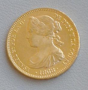 10 ESCUDOS MONEDA ORO ISABEL 2DA GOLD COIN ISABEL II