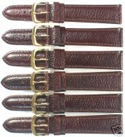 6 WATCH BANDS,18MM BROWN GENUINE LEATHER PADDED
