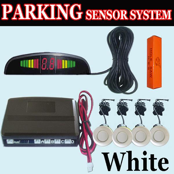 white 4 Parking Sensor Display Car Reverse Radar DCLD6
