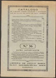 Catálogos librería Cecilio Gasca.Zaragoza