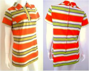 Vtg 1960s orange/white STRIPE MOD SHORT dress shirt