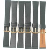Lot of 6pcs.Black 16mm Genuine Leather Watch Bands.CJ-1