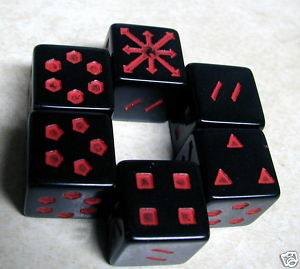 DICE - *6* 16mm CHX ARROWS OF CHAOS - OP BLACK w/RED