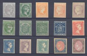 FICHA CON 15 SELLOS CLASICOS DE ESPAÑA. 1850.