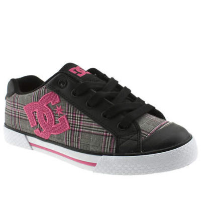 Womenskate Shoes on Dc Shoes Womens Black Pink Fabric Skate Trainers