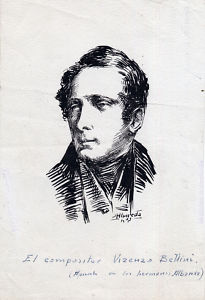 Dibujo:Tinta.Compositor Vicenzo Bellini.Hnos Albareda