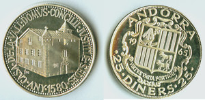 1965 Andorra KM7 Silver Proof 25 Diners