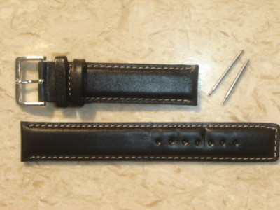 18mm genuine real leather padded watch strap band # 406