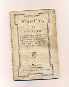 MANUAL DE COMPTES FETS ALGODON MATARO S XIX