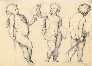 Dibujo lápiz.Título:Putti .Autor:Joaquín Albareda 1922