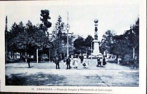 ESPAÑA ,ZARAGOZA  PLAZA DE ARAGON OLD POSTCARD