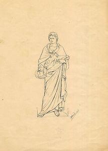 Dibujo a tinta al estilo de Flaxman.Joaquín Albareda