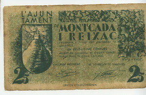 BILLETE LOCAL DE MONTCADA I REIXAC 025 PTA