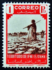 1943 IFNI ED#24** 1Pta rojo&castaño (2ª SERIE IFNI)