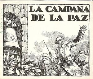 Dibujo tinta:La campana de la paz.Hnos.Albareda