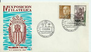 ESPAÑA*SPAIN,1964 FDC IV EXPOFILCA,VILLANUEVA Y GELTRU,Barcelona, 07.08.1964