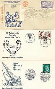 3 SOBRES DEPORTES BARCELONA OLIMPICO 1972 ESCUELA BRAFA 1979 SALON NAUTICO 1980
