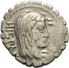 LANZ Postumius Albinus Denar Hispania Togatus Legion Adler Axt Fasces Rom °DO212