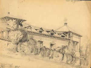 "Dibujo a lápiz. ""Casa de Guisema(Guadalajara)"".Albareda"