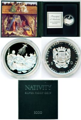 2000 Andorra 5 Diners Nativity Scene Proof done in .925 Silver With COA and case