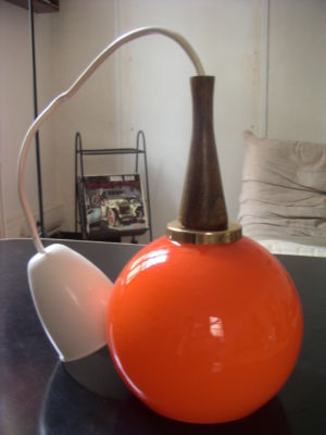 Suspension POP DESIGN 70 vintage verre orange eyeball luminaire lampe no panton