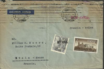 Spain old air mail to France  1953