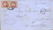 Año 1862 edifil 58 4 cu 2 sellos carta matasellos rueda de carreta 2 Barcelona