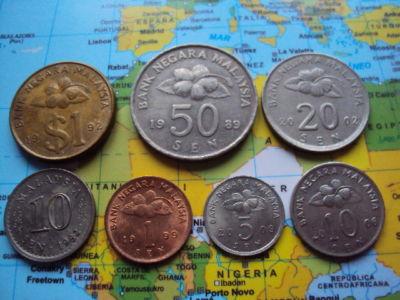 MALASIA LOTE DE 7 MONEDAS DIFERENTES,