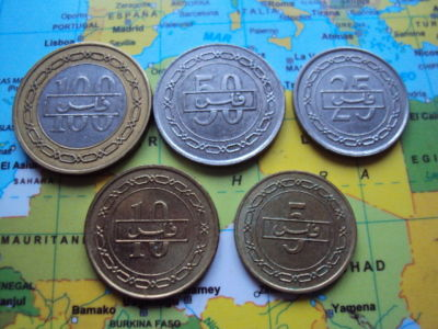 BAHRAIN LOTE DE 5 MONEDAS DIFERENTES,