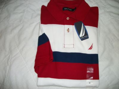 NEW NAUTICA MENS SHORT SLEEVE RED, WHITE, NAVY BLUE STRIPE POLO SHIRT SIZE M (618935472146)