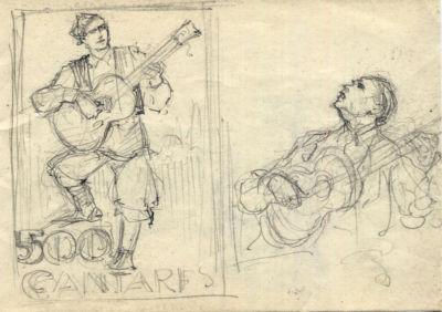 Dibujo a lápiz. Título: Cantares.Autor:posible Albareda