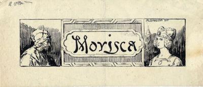Dibujo a tinta. Título: Morisca. Autor: Hnos Albareda