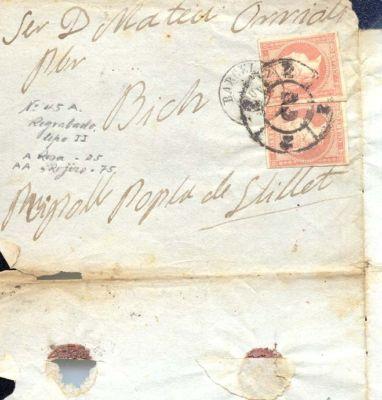 Año 1856 edifil 48 2 sellos 4 cu env  rueda de carreta 2 Barcelona
