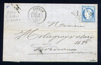 Belle lettre de Condom ( 1875 ) avec un n° 60C - Point Bleu sur A | eBay</title><meta name=