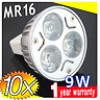 10x MR16 9W LED Spot Light Bulbs Lamp Warm-white 12V 3X3W work downlights Bright