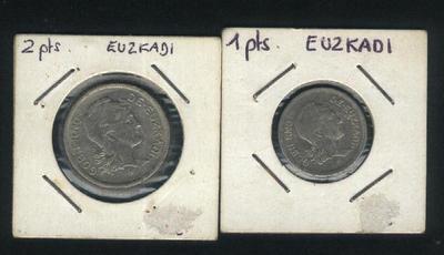 Monedas de 1 y 2 pts 1937 Euskadi