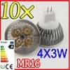 10X MR16 Warm White 12W LED Spot Light Lamp Bulb Globe Downlight 4*3W 12V